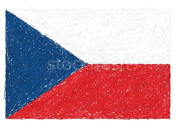 Bayrak Çek Cumhuriyeti örnek dizayn mavi Stok fotoğraf © jomaplaon