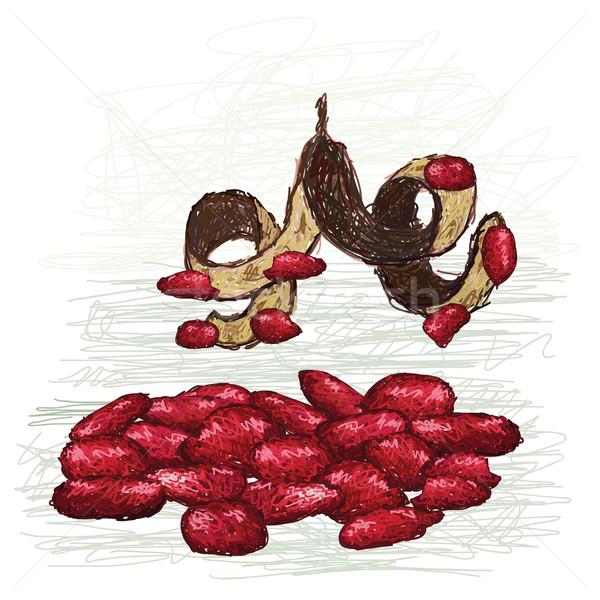 Rood kralen illustratie peul wetenschappelijk Stockfoto © jomaplaon