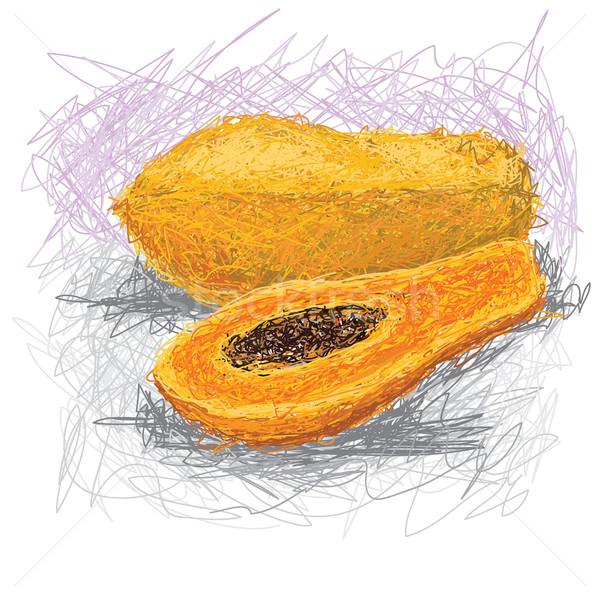 Primer plano ilustración frescos alimentos naranja dibujo Foto stock © jomaplaon