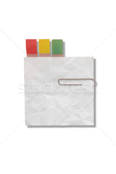 Mini blank page white paper with tag and clip for note something Stock photo © jomphong