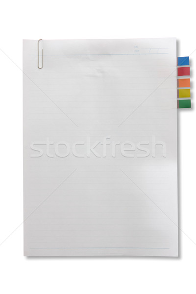 Blank page white paper with tag and clip for note something and  Stock photo © jomphong
