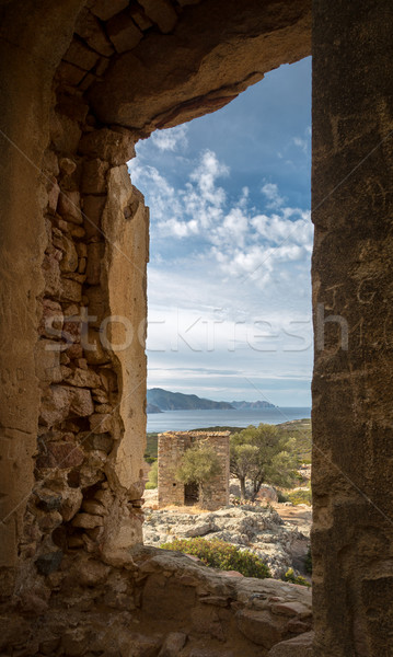 View of derelict building and coast near Galeria in Corsica Stock photo © Joningall