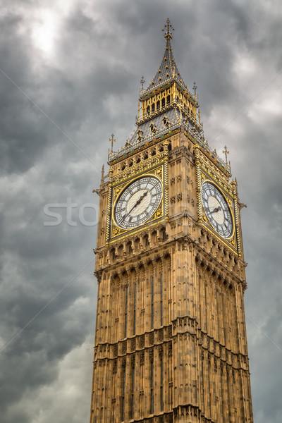 большой Бен серый облачный небе Лондон угрожающий Сток-фото © Joningall