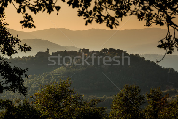 Hilltop village of Preggio in the hills of Umbria Stock photo © Joningall