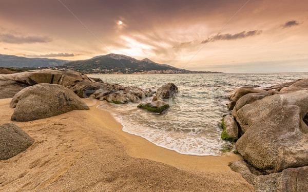 Roches sable plage corse dramatique Photo stock © Joningall