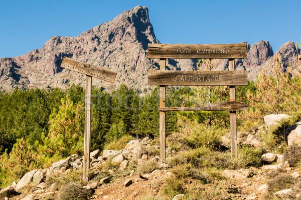 Ahşap işaretleri dağlar orman korsika göstermek Stok fotoğraf © Joningall