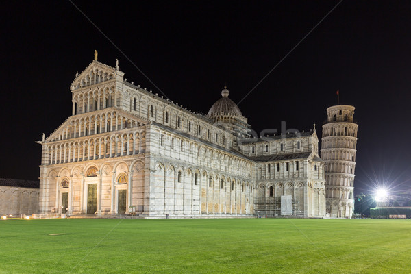 Cathedral and leaning tower of Pisa at night Stock photo © Joningall