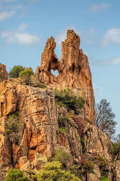 дыра рок Корсика пород Запад побережье Сток-фото © Joningall