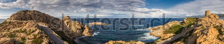 Panoramic view from la Pietra at Ile Rousse in Corsica Stock photo © Joningall