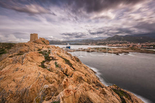 Genoese tower at La Pietra in Ile Rousse in Corsica Stock photo © Joningall