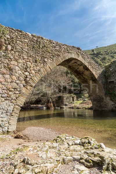Köprü korsika dere eski köy bölge Stok fotoğraf © Joningall
