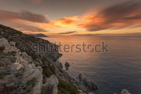 Gün batımı batı sahil korsika güney gökyüzü Stok fotoğraf © Joningall