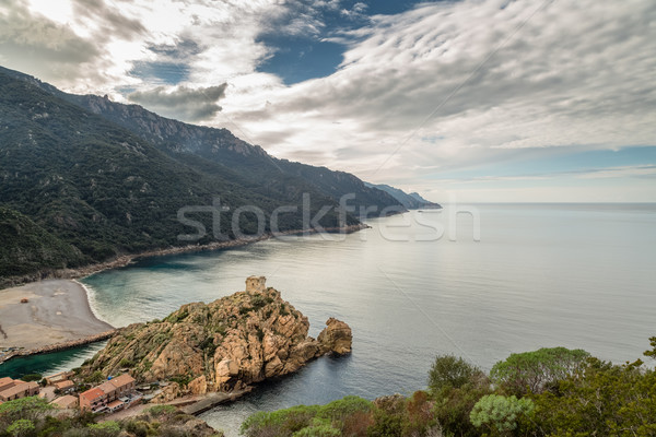 Genoese tower and beach at Porto in Corsica Stock photo © Joningall