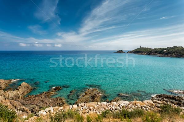Part Korzika torony víz természet kő Stock fotó © Joningall