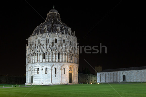 Floodlit Pisa Baptistry of St John at night Stock photo © Joningall