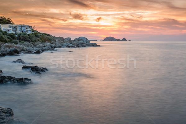 закат Корсика регион пород передний план морем Сток-фото © Joningall
