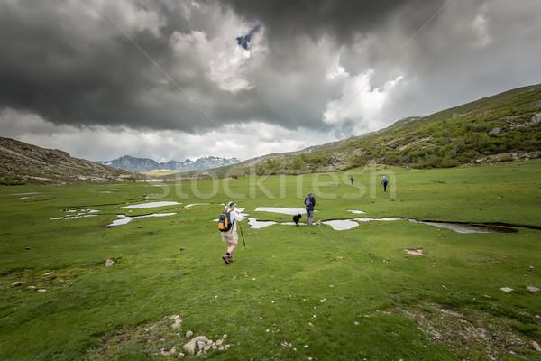 Hikers near Lac De Nino in Corsica Stock photo © Joningall