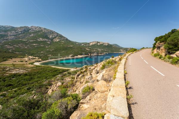 Coast road between Galeria and Calvi in Corsica Stock photo © Joningall