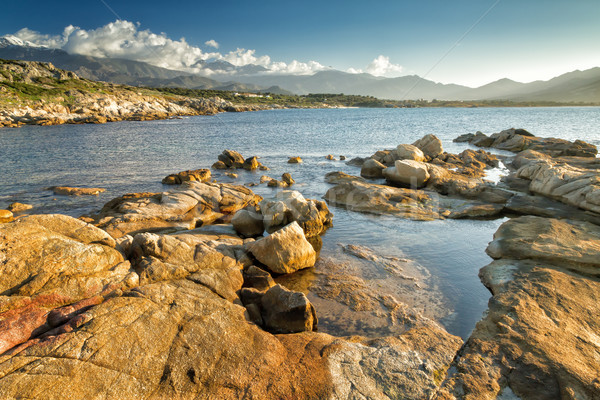 The rocks at Arinella Plage in Corsica Stock photo © Joningall