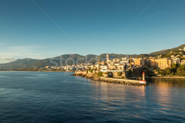 Város citadella kikötő Korzika bejárat északi Stock fotó © Joningall