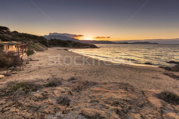 Сток-фото: Корсика · закат · пород · передний · план · пляж · Средиземное · море