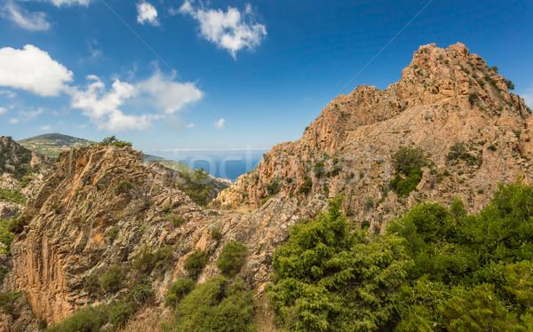 Korsika batı sahil doğa deniz dağ Stok fotoğraf © Joningall
