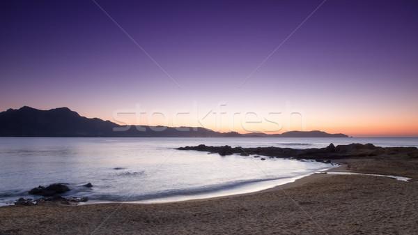 Mor gün batımı korsika plaj manzara deniz Stok fotoğraf © Joningall