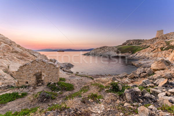 Sunrise and ferry at Ile Rouse in Corsica Stock photo © Joningall
