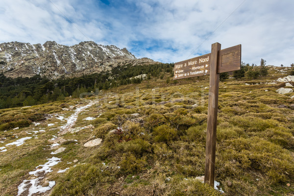 Sign marking Mare a Mare walk at Col de Vergio in Corsica Stock photo © Joningall