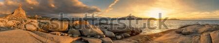 Panoramik görmek gün batımı korsika kule Stok fotoğraf © Joningall