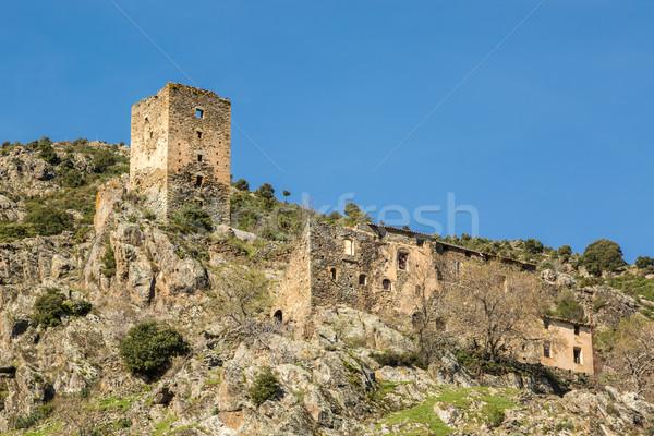 Eski taş kule korsika tur binalar Stok fotoğraf © Joningall