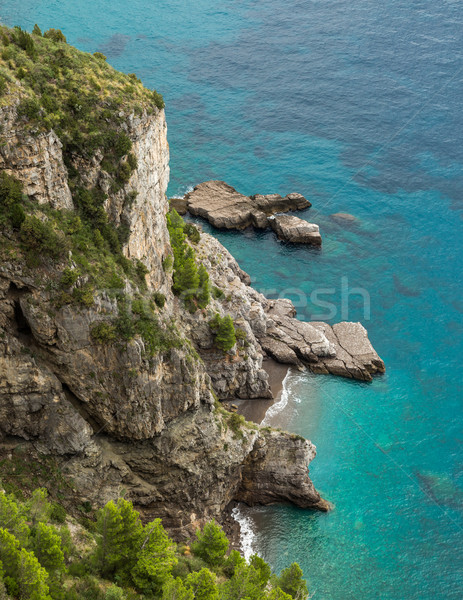 Small cove and turquoise sea on Amalfi coast in Italy Stock photo © Joningall