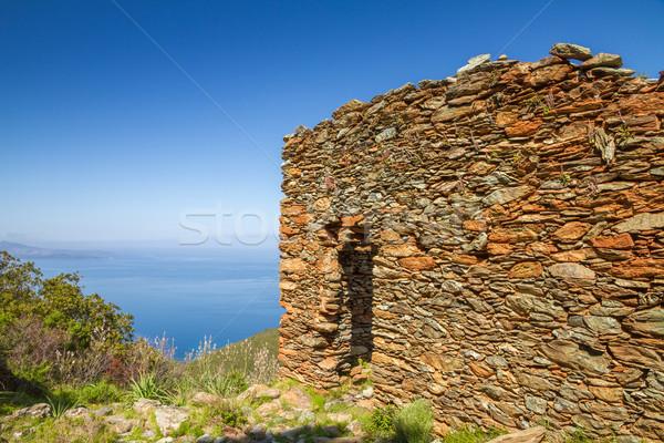 Stock photo: Old stone ruin overlooking mediterranean