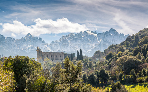 San Francesco convent and mountains at Castifao in Corsica Stock photo © Joningall
