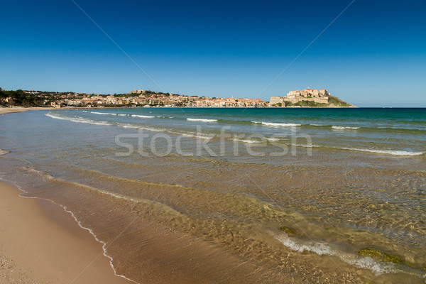 View of the citadel and port of Calvi from across Calvi bay Stock photo © Joningall
