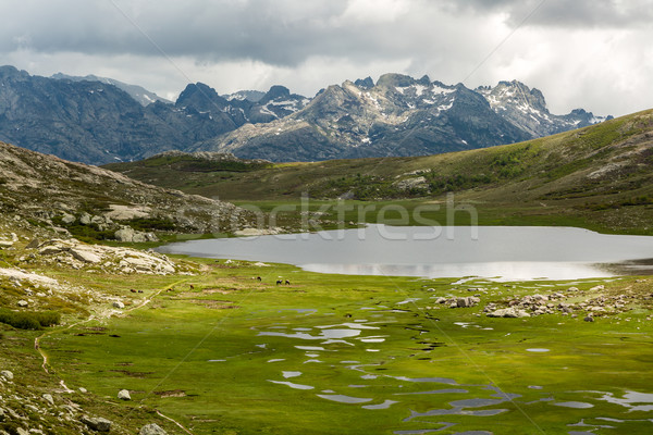 Lac De Nino in Corsica with  mountains in the background Stock photo © Joningall