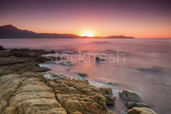 Sun setting over Calvi in Corsica Stock photo © Joningall