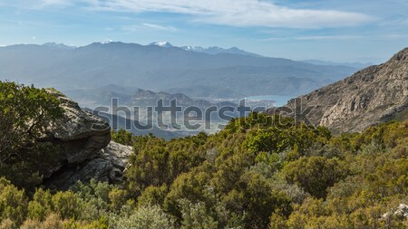 View over St Florent and snow capped mountains in Corsica Stock photo © Joningall