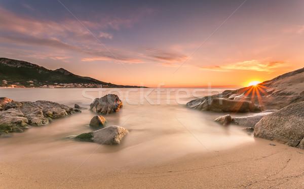 закат пляж Корсика пород воды Сток-фото © Joningall
