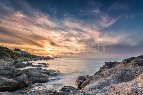Sunset over Ile Rousse in Corsica Stock photo © Joningall