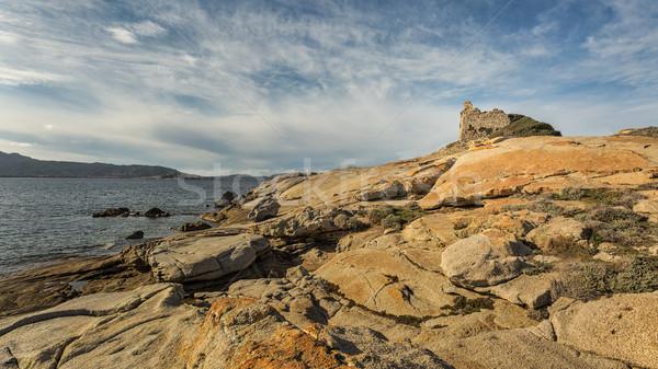 Kule korsika akdeniz kayalar bölge plaj Stok fotoğraf © Joningall