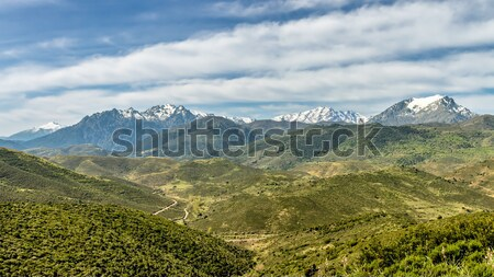 Snow capped mountains of Corsica with lush green valleys  Stock photo © Joningall