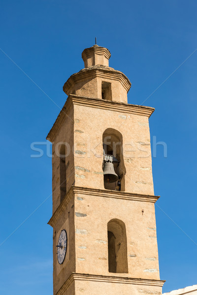 Church bell tower at Castifao in northern Corsica Stock photo © Joningall