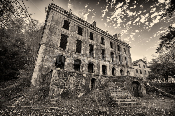 B&W image of derelict hotel at Vizzavona in Corsica Stock photo © Joningall