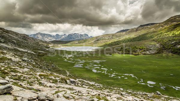 Korzika hegyek kilátás folyam zöld előtér Stock fotó © Joningall