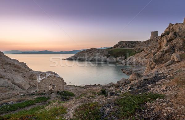 Sunrise corse abandonné bâtiment premier plan tour Photo stock © Joningall