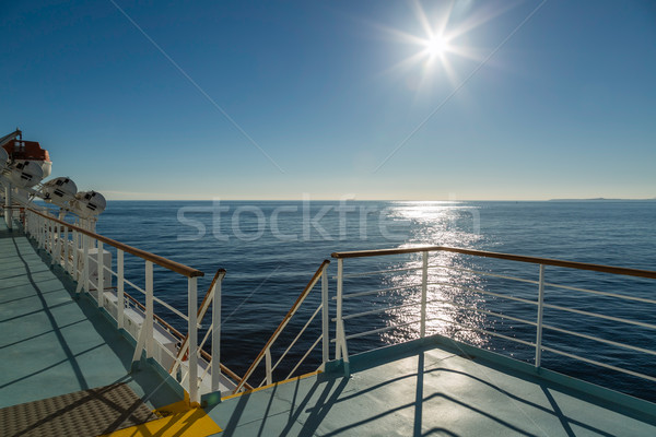 Deck of Mediterranean ferry heading towards the sun Stock photo © Joningall