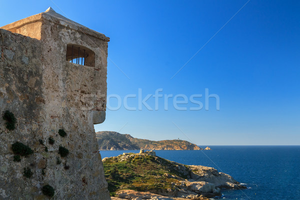 Watchtower in the citadel at Calvi, Corsica Stock photo © Joningall