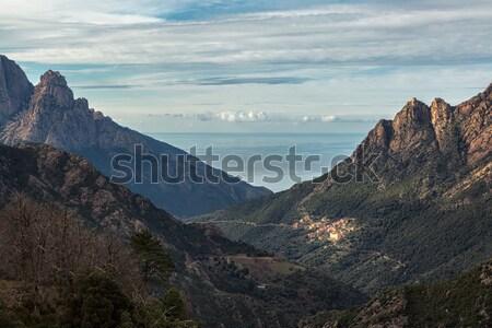 Korsika dağlar akdeniz deniz köy arkasında Stok fotoğraf © Joningall