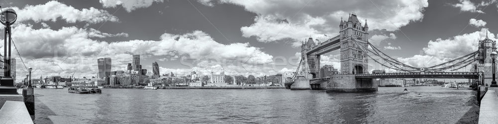 B&W Panoramic view of Tower Bridge and Tower of London Stock photo © Joningall